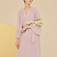 Longline Pleated Dress With Trumpet Sleeves-Lavender