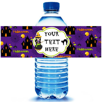 Halloween Party Water Bottle Label 5ct - Party Supplies - Halloween Party Favors - Witches - Halloween Birthday- FREE Personalization