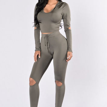 Gray Hooded Long Sleeve Cut-Out Detail Sports Suit