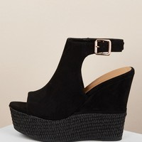 Open Toe Buckled Ankle Raffia Platform Wedges