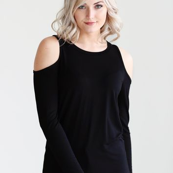 Black DLMN Curved Hem Cold Shoulder Tee