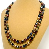 Jewel Tone Multi Color Double Strand Autumn Handmade Pearl Necklace