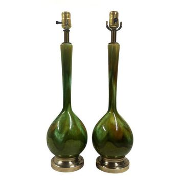 Pre-owned Vintage Green Drip Glaze Table Lamps - A Pair