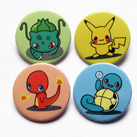 "Pokemon Gen 1 Starters (Pikachu, Bulbasaur, Squirtle, Charmander) 4x1.5"" pinback button badge set from Stickerama"