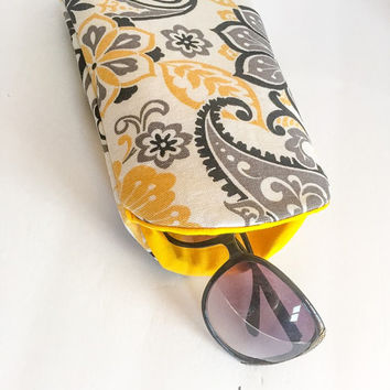 Yellow Floral Extra Large Sunglass Case, Fabric Sunglasses Case, Soft Glasses Case, Padded Glasses Sleeve