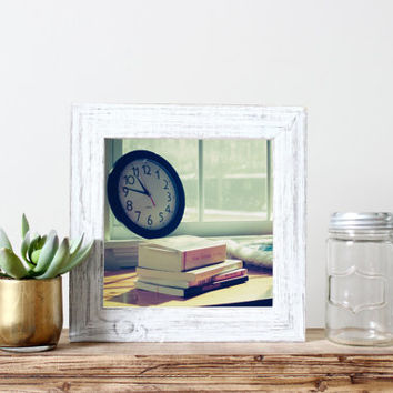 Still life square print, stack of books in window seat, winter, clock, vintage, film, fine art photography, wall art, home decor, cozy read