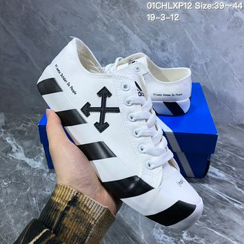 DCCK2 A1015 Adidas canvas cross-arrow zebra double-color sole graffiti low-top shoes White