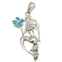 INLAY OPAL HAWAIIAN PLUMERIA FLOWER STERLING SILVER 925 MERMAID PENDANT RHODIUM