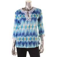 Alfred Dunner Womens Petites Printed Lace Trim Tunic Top