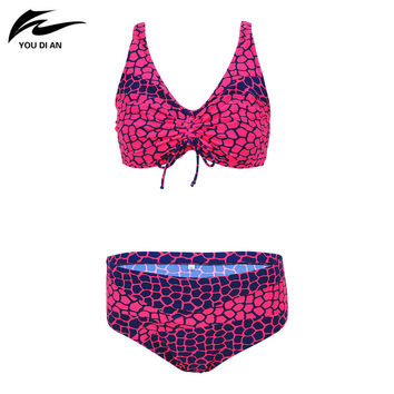 New Arrival Plus Size Swimwear Bikini Women Swimsuit Sexy Halter Bikini Deep V Design Leopard Pattern Mid Waist Bathing Suit