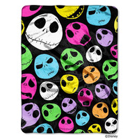 Nightmare Before Christmas Glow Skulls  Micro Raschel Blanket (46in x 60in)
