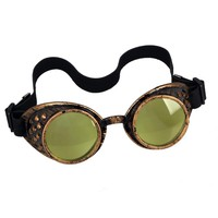 New Arrival Yellow Frame 8 Colors Lenses men women Sunglasses Vintage Steampunk Goggles Gothic Costume Cosplay