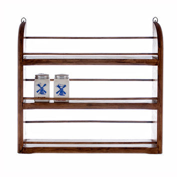 Vintage Spice Rack Wood Storage and Organizer Retro Kitchen Decor Country Primitive Cottage Chic Shelf
