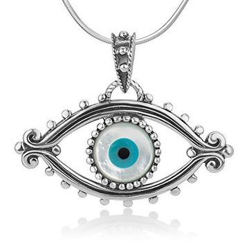 "SHIP BY USPS: 925 Oxidized Sterling Silver Evil Eye Lucky Eye Hamsa Protection Amulet Pendant Necklace, 18"" Chain"