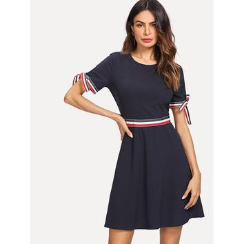 Navy Knot Cuff Striped Fit And Flare Dress