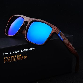 Retro Bamboo Wood Sport Mirror Sunglasses