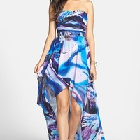 Jump Apparel Strapless High/Low Chiffon Dress (Juniors)
