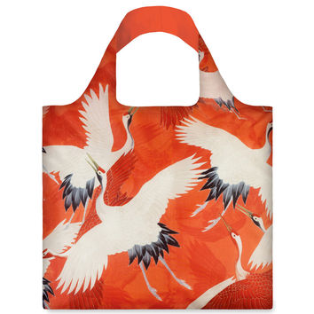 White And Red Cranes Reusable Bag