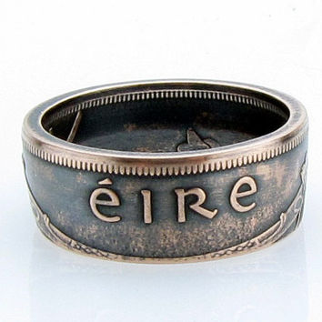 Irish 1 Pingin EIRE Coin Ring, Ireland, Unique Ring, Coin Jewelry, Mens, Band, Mans, Rings