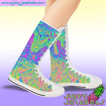 ACID OIL SLICK Lace up Boots Women Rave Outfit Rave Clothing Music Festival Clothing Ankle Boots Ankle Booties Custom Sneakers Converse