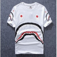 Bape Aape Summer Fashion New Shark Print Women Men Top T-Shirt White