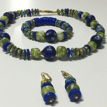 Kyerewaa handmade African trade bead necklace with matching bracelet & earrings