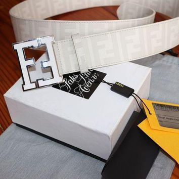 Gotopfashion Authentic WHITE Fendi College FF Buckle Belt Zucca 110 cm 38-40
