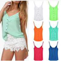 Summer Sweets Ladies Sexy Chiffon Spaghetti Strap Tops Blouse [6339068289]