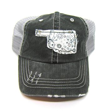 Black and Gray Distressed Trucker Hat - Pink and Gray Floral Applique - Oklahoma - All United States Available