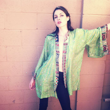 Kimono// one of a kind vintage silk kimono, in green // bohemian. ready to ship.