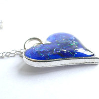 Stunning Blue Resin Heart Necklace, Blue Resin Pendant Resin & silver Plated Heart Heart Necklace