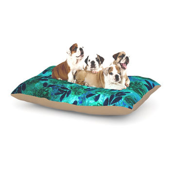 "Ebi Emporium ""Grunge Flowers III"" Teal Floral Dog Bed"