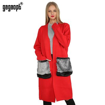 Sweater with Faux Fur Pocket Long Cardigan Knee-Length Long Sleeve Casual Poncho Winter Women Coat Pull