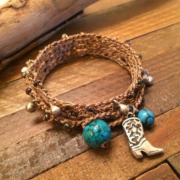 Cowgirl Up - Country Chic / Boho Chic Cowgirl Jewelry Crochet Beaded Wrap Bracelet With Silver Boot Charm