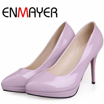 ENMAYER 8 Colors Hot Fashion High-heeled Shoes Women's Pumps Pointed Toe Thin Heel Swe