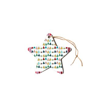 """bruxamagica """"Cute Colorful Christmas Tree"""" Multicolor White Pattern Holiday Illustration Star Holiday Ornament"""