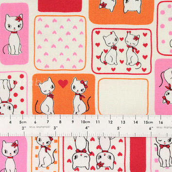 Japanese Fabric Lecien Retro Collection - Love Cats - white, pink, orange - fat quarter