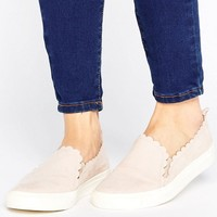 Faith Kenny Blush Scallop Edge Trainers at asos.com