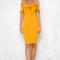 808s And Heartbreak Midi Dress Yellow