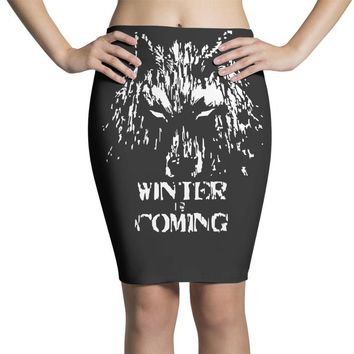 game of thrones direwolf winter is coming Pencil Skirts