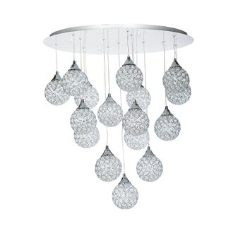 Finesse Lighting- Sparling Crystal Dome- 16 Pendant Flush
