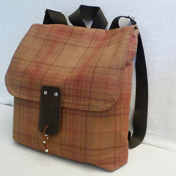 Cute Brown Plaid Canvas  Backpack / School / Travel / by ottobags