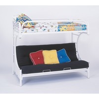 White Metal Twin & Futon Bunk Bed Only