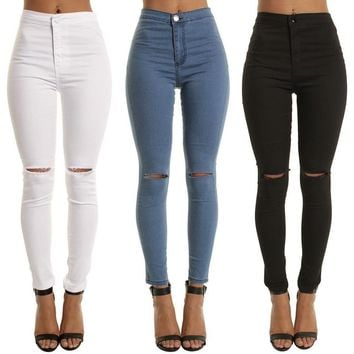 Laamei High Waist Casual Skinny Jeans For Women Hole Girls Slim Knee Ripped Denim Pencil Pants Elasticity Black Blue Trousers