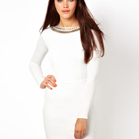 River Island Embellished Neck Bodycon Dress