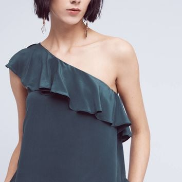 Silk One-Shoulder Blouse
