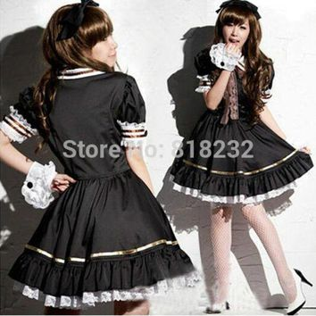 PEAPON Lolita Princess Lace Dress Maid Outfit Cosplay Costumes School Uniform S M L XL