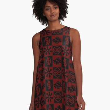 'Adinkra symbols' A-Line Dress by handcraftline