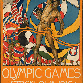 "c.1910s ""'Olympic Games Stockholm 1912 Event"" Travel Poster-Antique-Old-Vintage Reproduction Photograph/Photo: Gicclee Print. Frame it!"