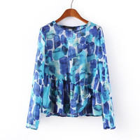 Summer Blue Irregular Long Sleeve Shirt Chiffon Tops Blouse [6047781057]